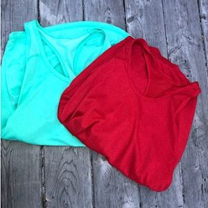 Xersion 2 workout tanks, size S. Red and turquoise